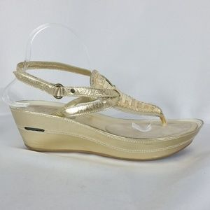 Cole Haan 11B Gold Thong Wedge Sandal
